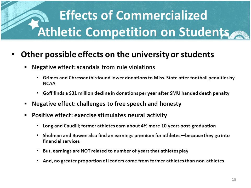 Effects of Commercialized Athletic Competition on Students Other possible effects on the university or students Negative effect: scandals from rule violations Grimes and Chressanthis found lower donations to Miss.