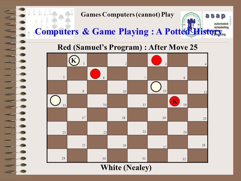 Games Computers (cannot) Play Computers & Game Playing : A Potted History 1 2 3 4 5 6 7 8 9 10 11 12 13 14 1516 171819 20 2122 24 25 26 27 28 29 3031 32 White (Nealey) Red (Samuels Program) : After Move 25 23 K K