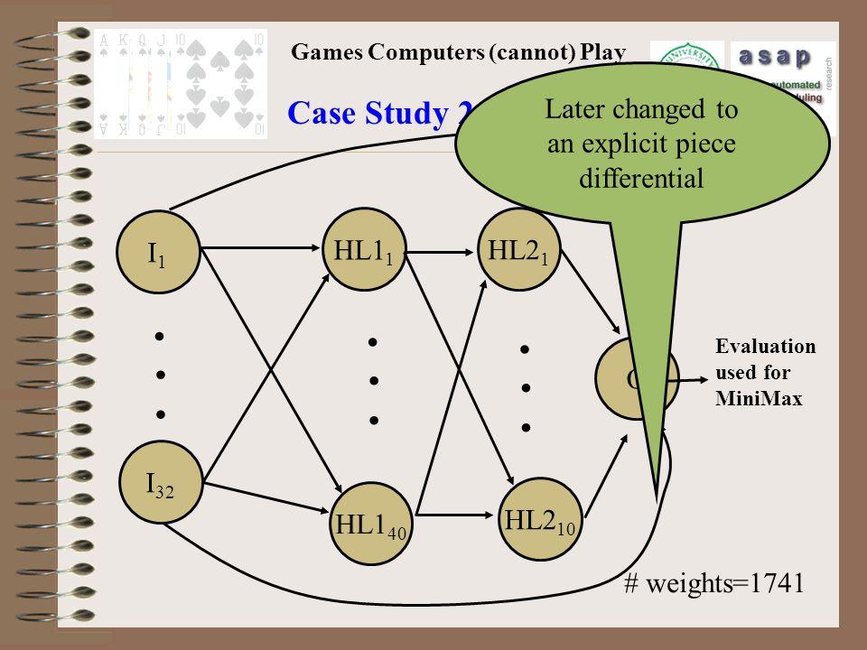 Games Computers (cannot) Play Case Study 2: Anaconda I1I1 I 32 HL1 1 HL1 40 HL2 1 HL2 10 O.........