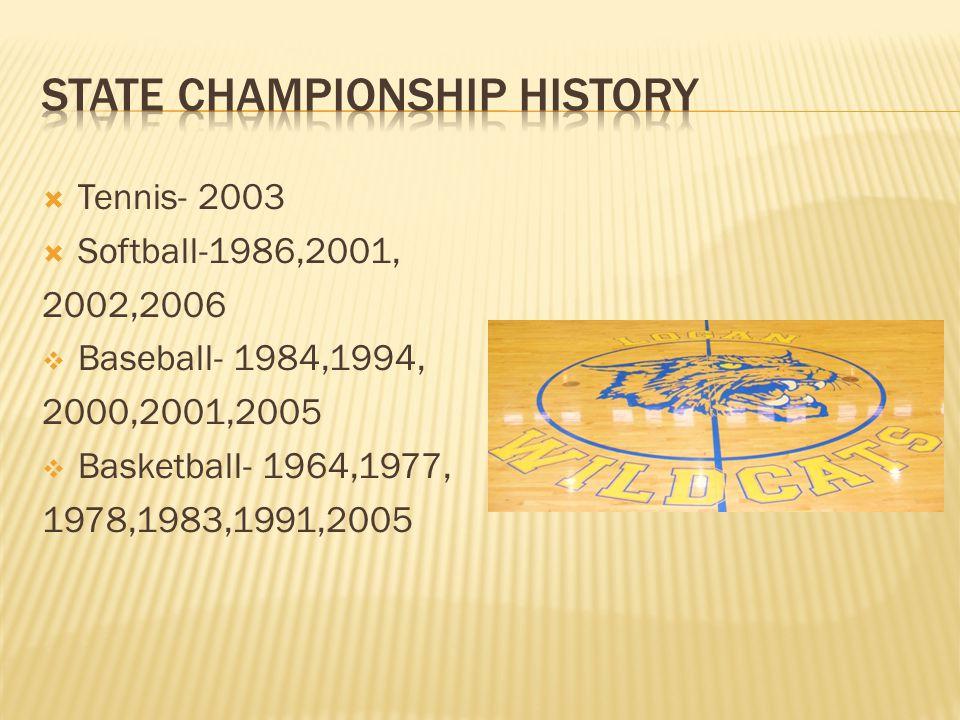 Tennis- 2003 Softball-1986,2001, 2002,2006 Baseball- 1984,1994, 2000,2001,2005 Basketball- 1964,1977, 1978,1983,1991,2005