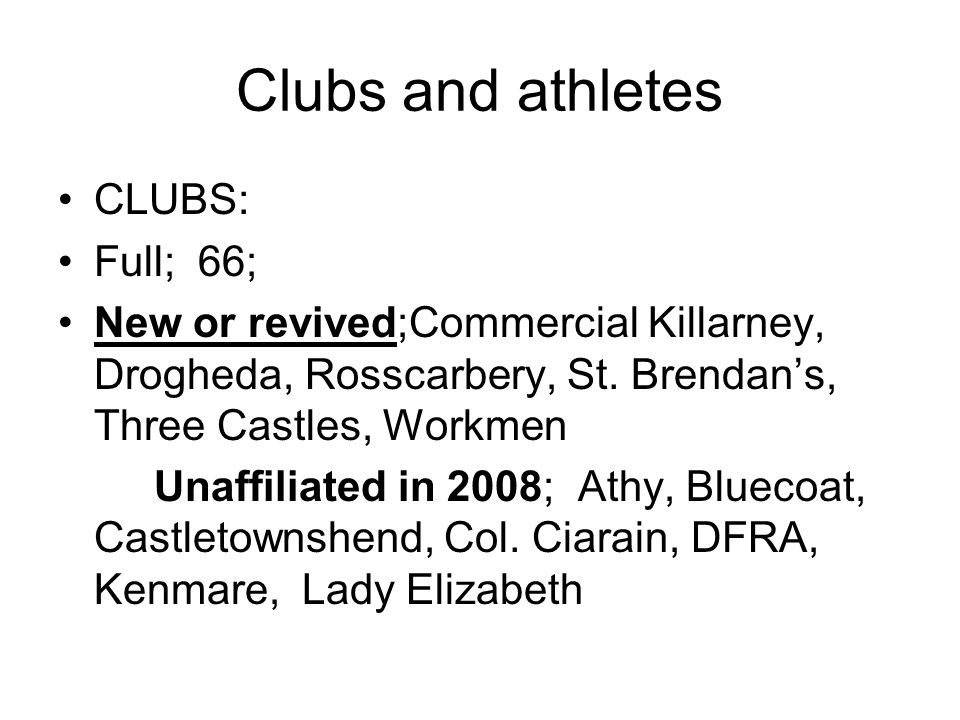 Clubs and athletes CLUBS: Full; 66; New or revived;Commercial Killarney, Drogheda, Rosscarbery, St.
