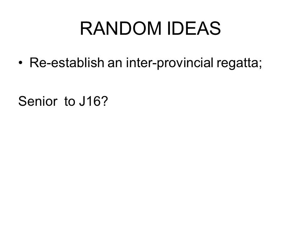 RANDOM IDEAS Re-establish an inter-provincial regatta; Senior to J16