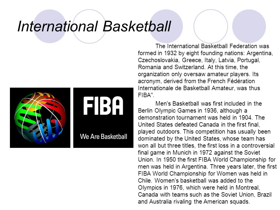 International Basketball The International Basketball Federation was formed in 1932 by eight founding nations: Argentina, Czechoslovakia, Greece, Ital
