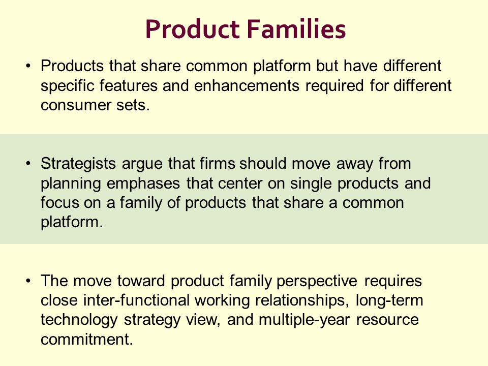Product Families Products that share common platform but have different specific features and enhancements required for different consumer sets. Strat