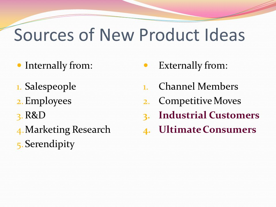 Sources of New Product Ideas Internally from: 1. Salespeople 2. Employees 3. R&D 4. Marketing Research 5. Serendipity Externally from: 1. Channel Memb