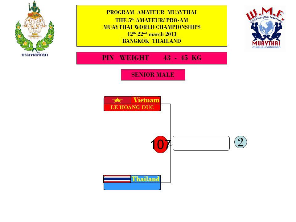 SENIOR MALE PROGRAM AMATEUR MUAYTHAI THE 5 th AMATEUR/ PRO-AM MUAYTHAI WORLD CHAMPIONSHIPS 12 th 22 nd march 2013 BANGKOK THAILAND LIGHTFLY WEIGH 45 - 48 KG.