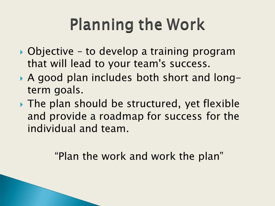Objective – to develop a training program that will lead to your team s success.