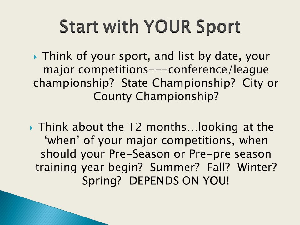 Think of your sport, and list by date, your major competitions---conference/league championship.
