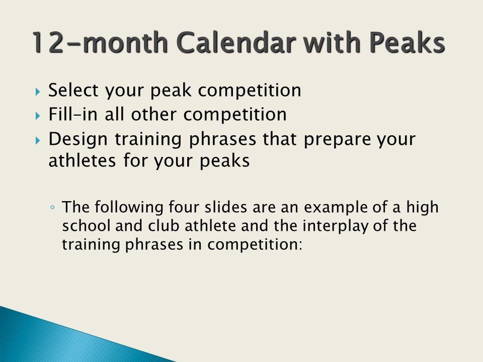 Select your peak competition Fill–in all other competition Design training phrases that prepare your athletes for your peaks The following four slides are an example of a high school and club athlete and the interplay of the training phrases in competition: 12-month Calendar with Peaks