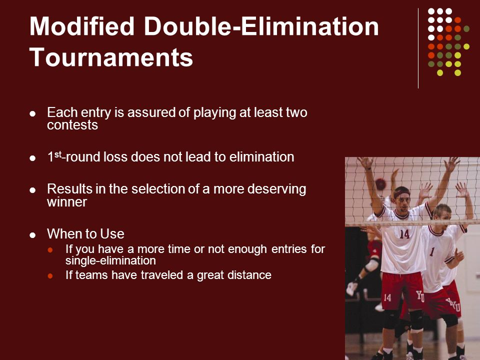 Modified Double-Elimination Tournaments Each entry is assured of playing at least two contests 1 st -round loss does not lead to elimination Results i