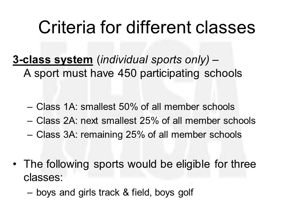 Criteria for different classes 3-class system (individual sports only) – A sport must have 450 participating schools –Class 1A: smallest 50% of all member schools –Class 2A: next smallest 25% of all member schools –Class 3A: remaining 25% of all member schools The following sports would be eligible for three classes: –boys and girls track & field, boys golf