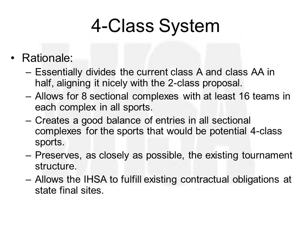 4-Class System Rationale: –Essentially divides the current class A and class AA in half, aligning it nicely with the 2-class proposal.