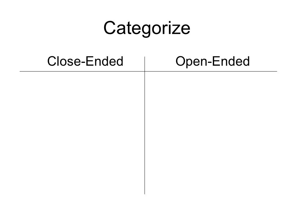 Categorize Close-Ended Open-Ended