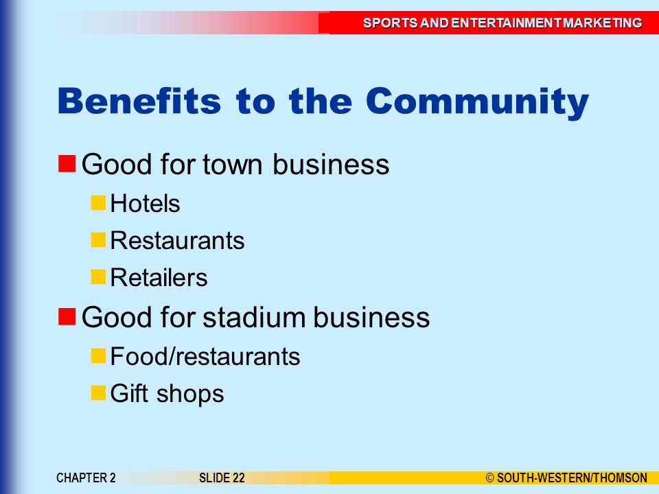 © SOUTH-WESTERN/THOMSON SPORTS AND ENTERTAINMENT MARKETING CHAPTER 2SLIDE 22 Benefits to the Community Good for town business Hotels Restaurants Retailers Good for stadium business Food/restaurants Gift shops