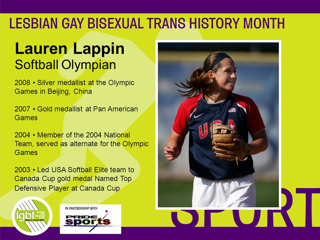 2008 Silver medallist at the Olympic Games in Beijing, China 2007 Gold medallist at Pan American Games 2004 Member of the 2004 National Team, served as alternate for the Olympic Games 2003 Led USA Softball Elite team to Canada Cup gold medal Named Top Defensive Player at Canada Cup Lauren Lappin Softball Olympian