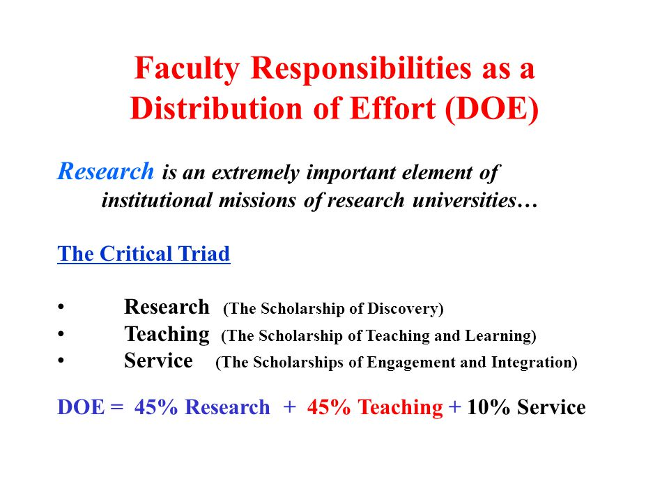 Research is an extremely important element of institutional missions of research universities… The Critical Triad Research (The Scholarship of Discove