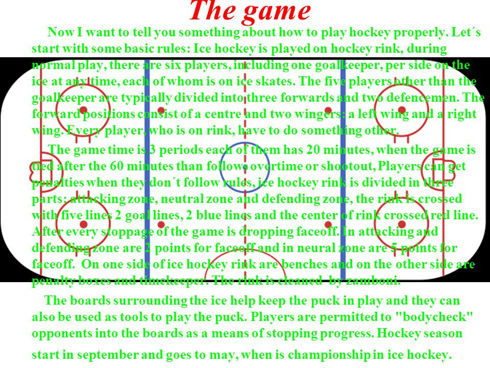 The game Now I want to tell you something about how to play hockey properly.