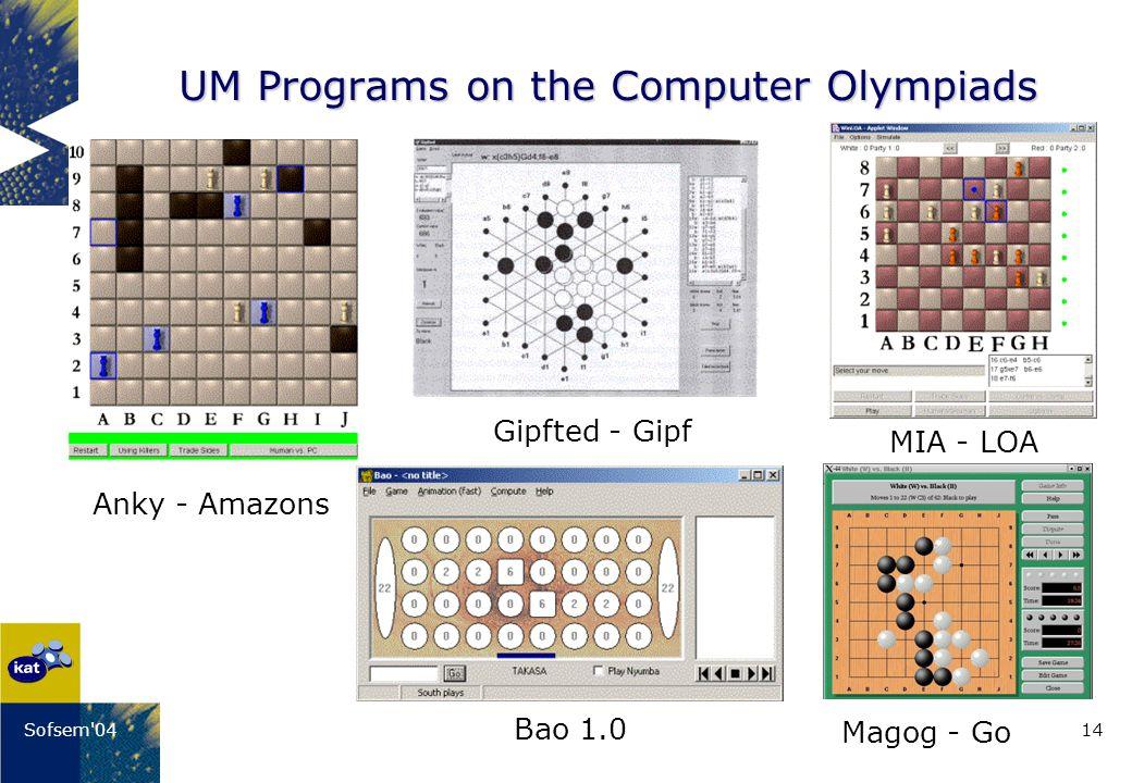 14Sofsem'04 UM Programs on the Computer Olympiads Bao 1.0 Gipfted - Gipf Anky - Amazons MIA - LOA Magog - Go