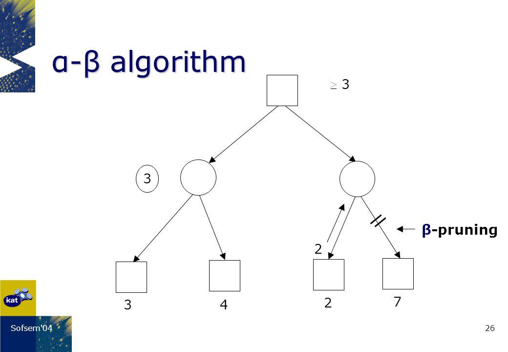 26Sofsem 04 α-β algorithm 3 4 2 7 3 3 2 β-pruning