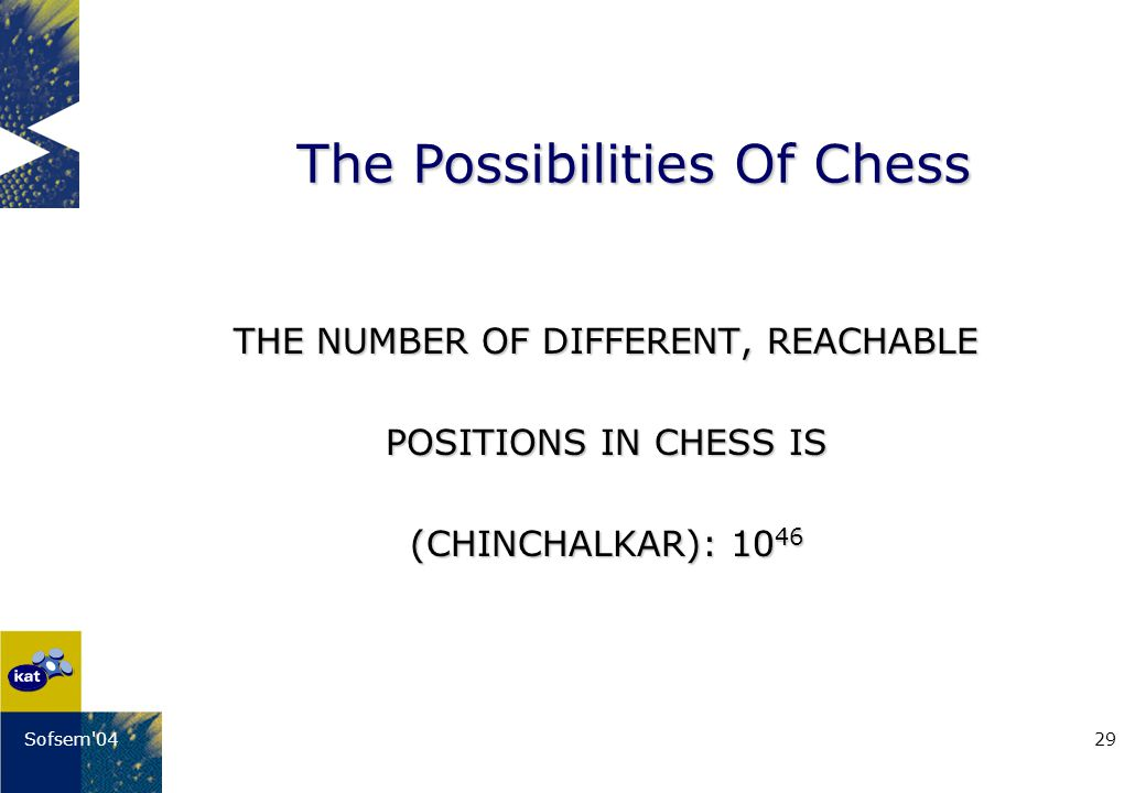 29Sofsem 04 THE NUMBER OF DIFFERENT, REACHABLE POSITIONS IN CHESS IS (CHINCHALKAR): 10 46 The Possibilities Of Chess