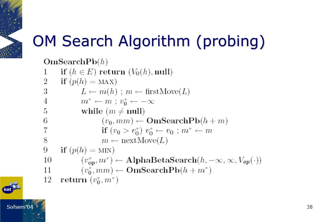 38Sofsem'04 OM Search Algorithm (probing)