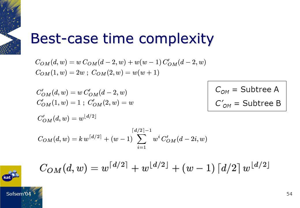 54Sofsem 04 Best-case time complexity C OM = Subtree A C OM = Subtree B