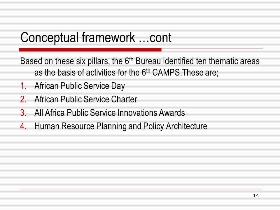Conceptual framework …cont Based on these six pillars, the 6 th Bureau identified ten thematic areas as the basis of activities for the 6 th CAMPS.The