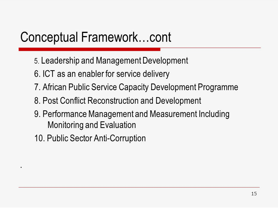 Conceptual Framework…cont 5. Leadership and Management Development 6. ICT as an enabler for service delivery 7. African Public Service Capacity Develo