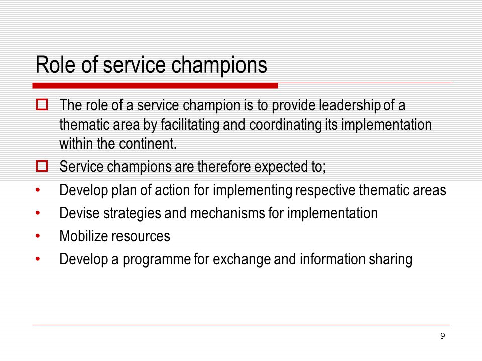 Role of service champions The role of a service champion is to provide leadership of a thematic area by facilitating and coordinating its implementati