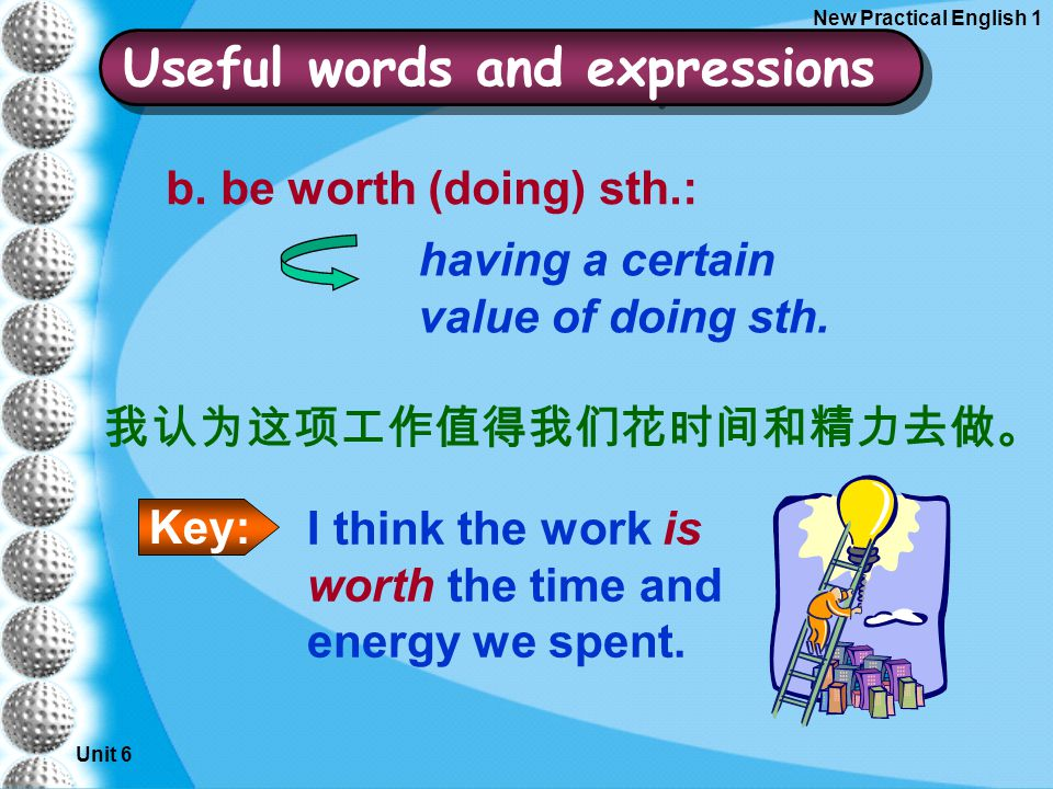 Unit 6 New Practical English 1 b. be worth (doing) sth.: having a certain value of doing sth.