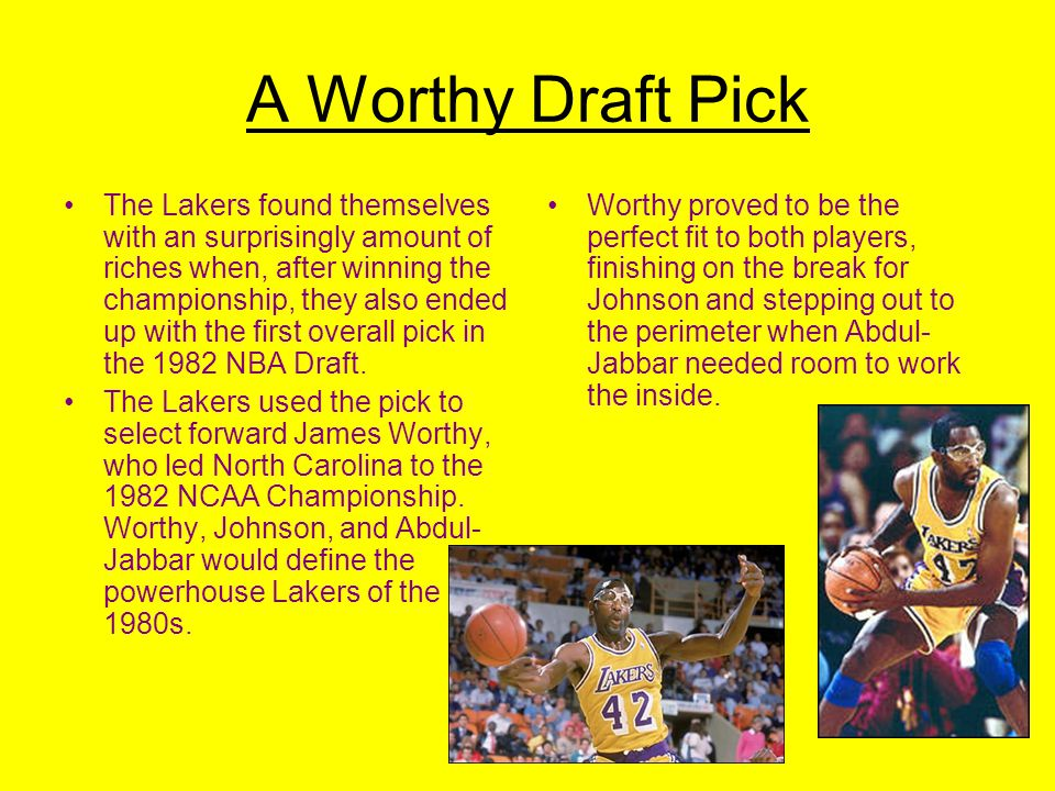 Showtime Arrives The Lakers drafted Earvin Magic Johnson, the 69 point guard from Michigan State in the 1979-1980 NBA draft with the first overall pick.