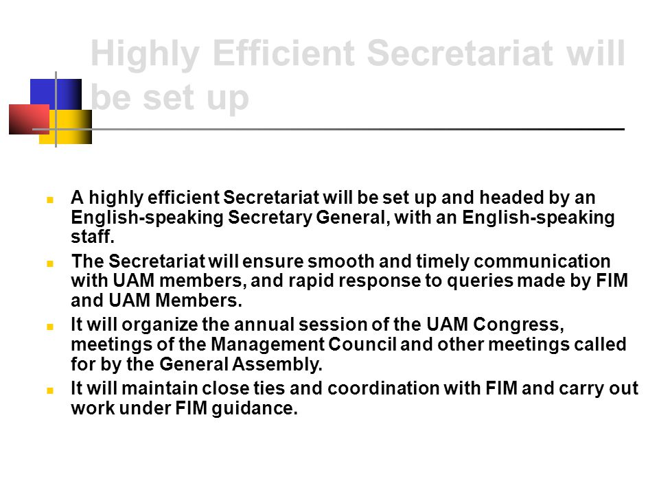 Highly Efficient Secretariat will be set up A highly efficient Secretariat will be set up and headed by an English-speaking Secretary General, with an