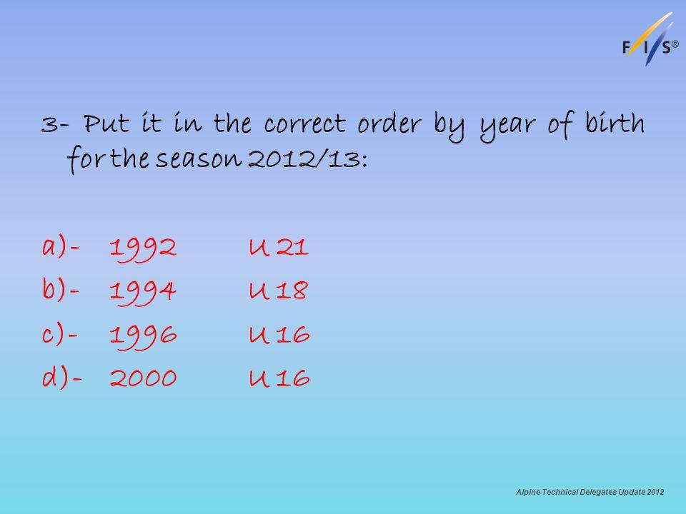3- Put it in the correct order by year of birth for the season 2012/13: a)-1992U 21 b)-1994U 18 c)-1996U 16 d)-2000U 16 Alpine Technical Delegates Upd