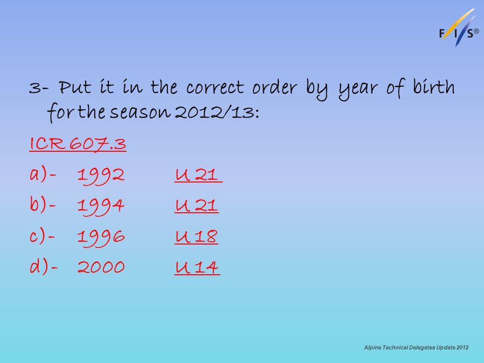 3- Put it in the correct order by year of birth for the season 2012/13: ICR 607.3 a)-1992U 21 b)-1994U 21 c)-1996U 18 d)-2000U 14 Alpine Technical Delegates Update 2012