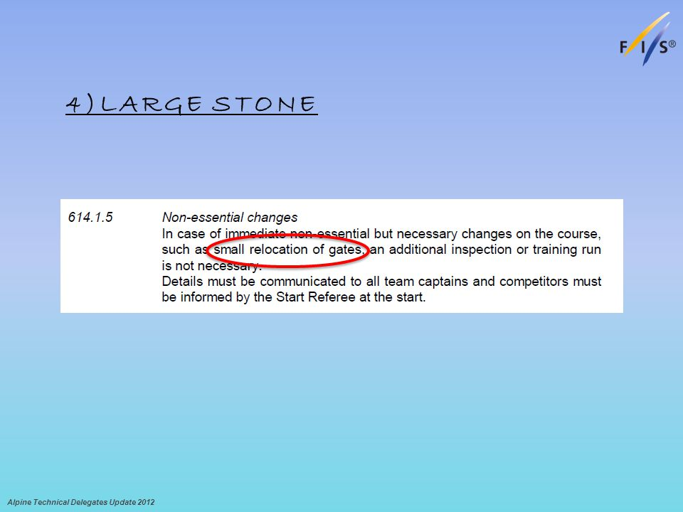 4)LARGE STONE Alpine Technical Delegates Update 2012