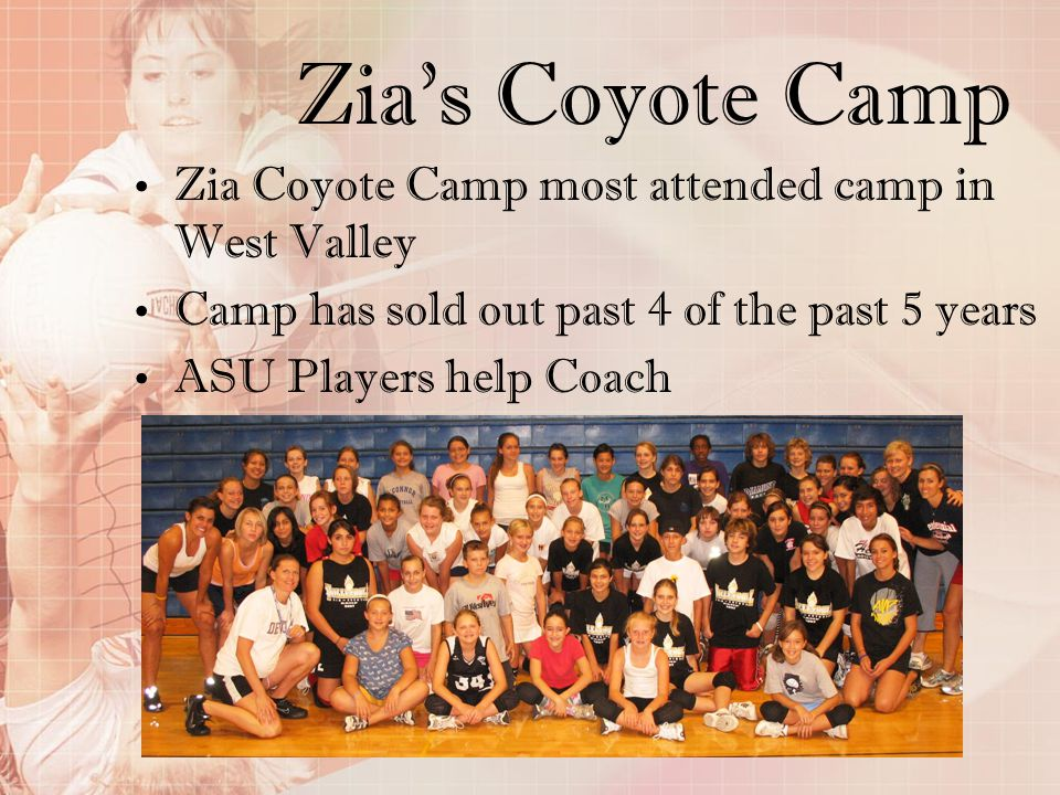 Zias Coyote Camp Zia Coyote Camp most attended camp in West Valley Camp has sold out past 4 of the past 5 years ASU Players help Coach