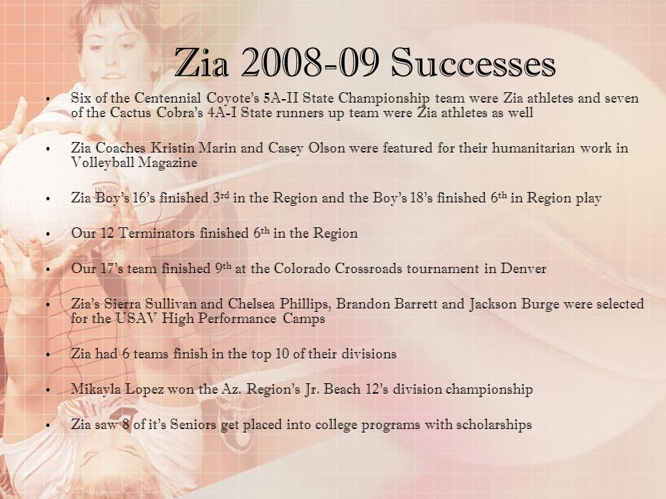 Zia 2008-09 Successes Six of the Centennial Coyotes 5A-II State Championship team were Zia athletes and seven of the Cactus Cobras 4A-I State runners