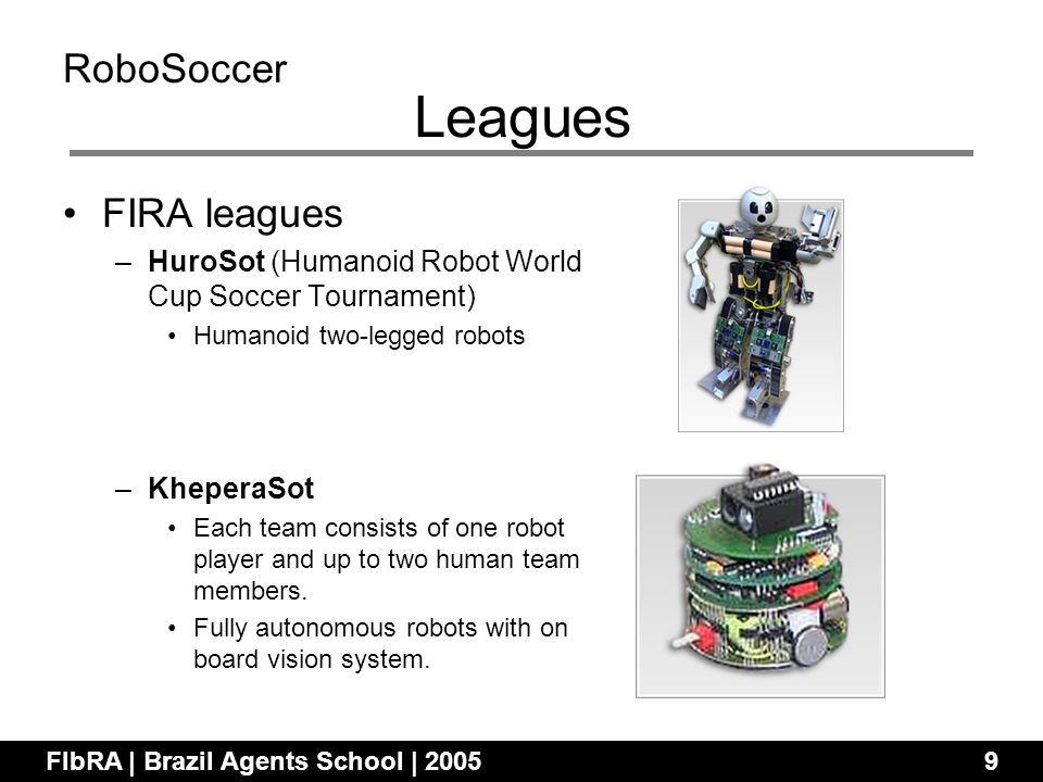 FIRA leagues –HuroSot (Humanoid Robot World Cup Soccer Tournament) Humanoid two-legged robots –KheperaSot Each team consists of one robot player and up to two human team members.