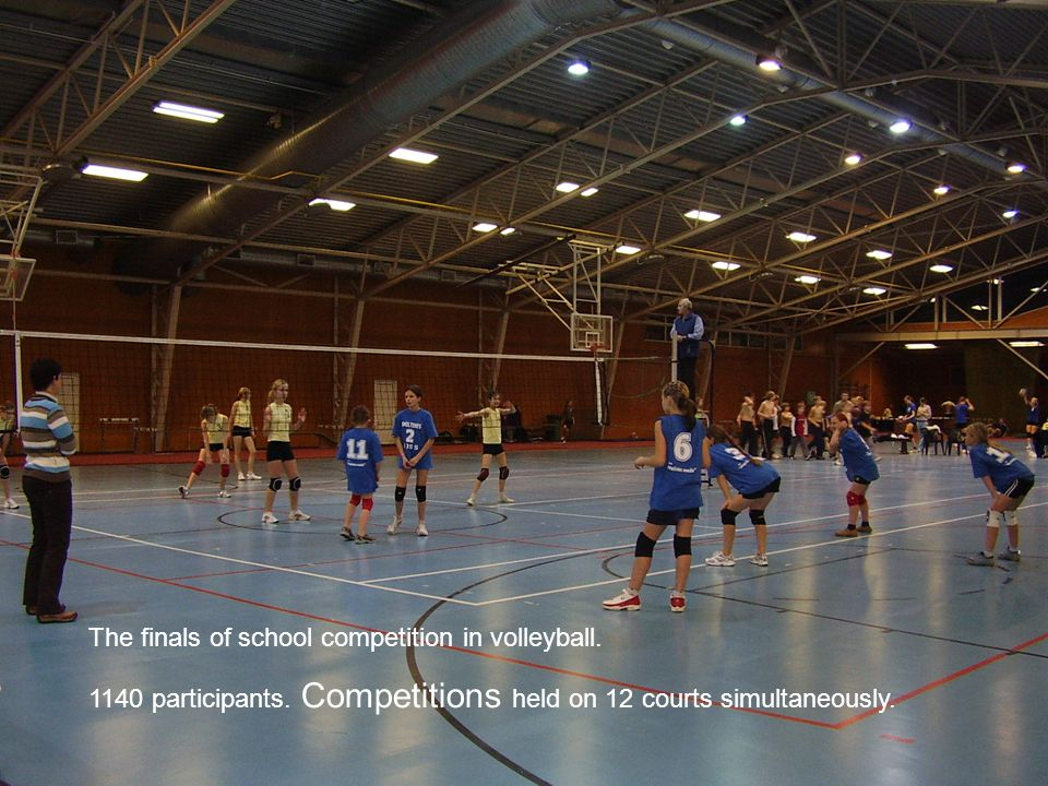 The finals of school competition in volleyball. 1140 participants. Competitions held on 12 courts simultaneously.