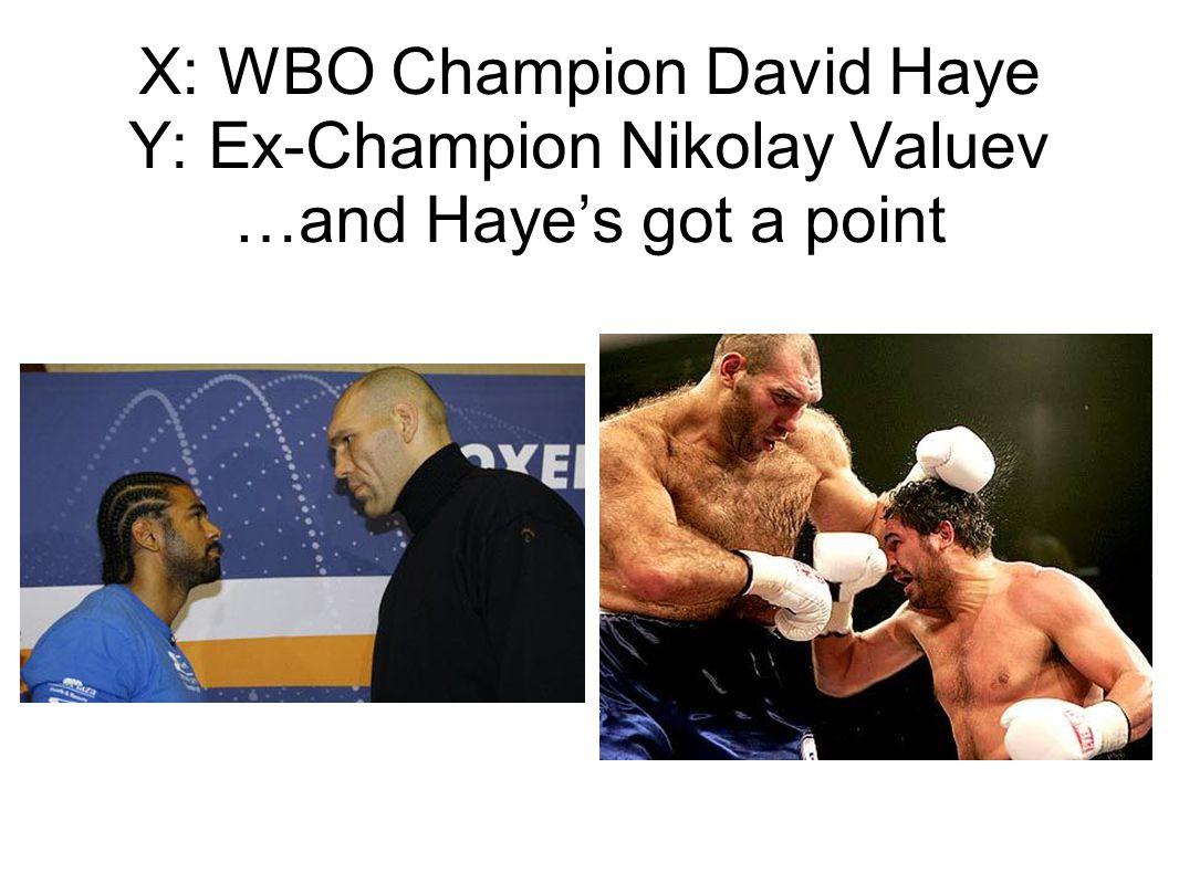 X: WBO Champion David Haye Y: Ex-Champion Nikolay Valuev …and Hayes got a point