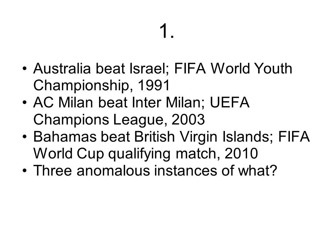 1. Australia beat Israel; FIFA World Youth Championship, 1991 AC Milan beat Inter Milan; UEFA Champions League, 2003 Bahamas beat British Virgin Islan