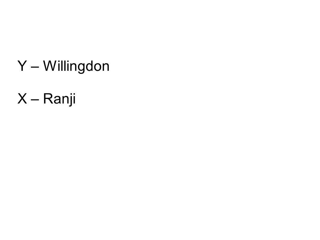Y – Willingdon X – Ranji