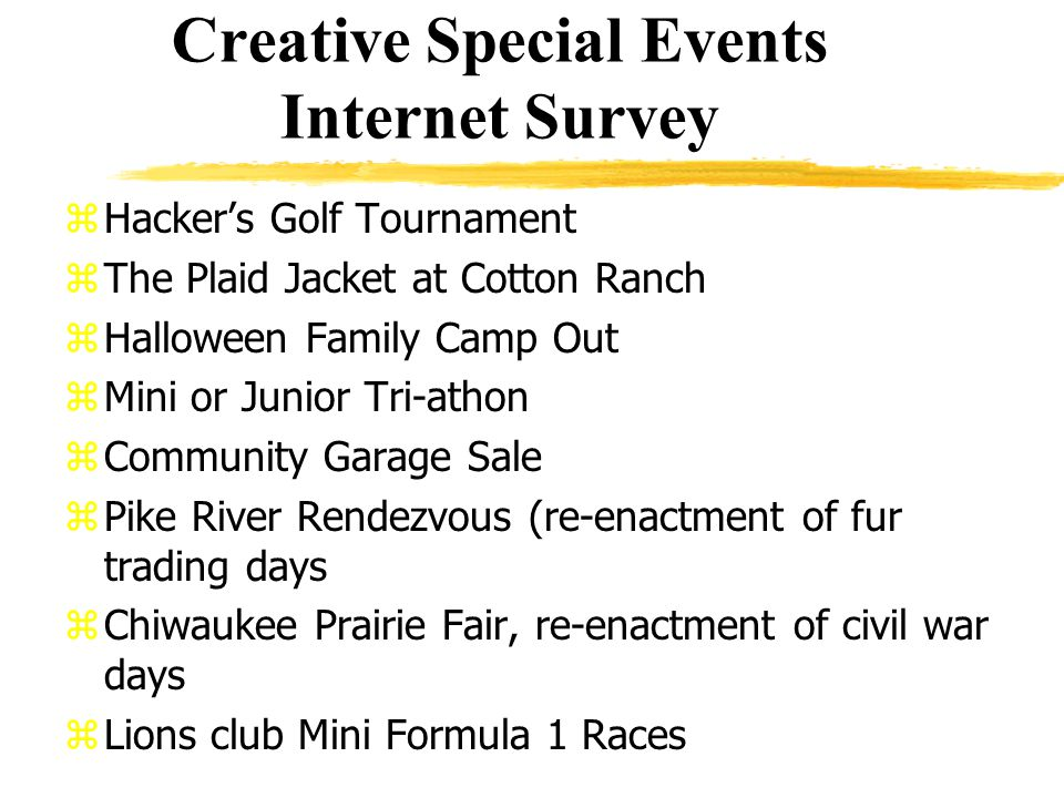 Creative Special Events Internet Survey zHackers Golf Tournament zThe Plaid Jacket at Cotton Ranch zHalloween Family Camp Out zMini or Junior Tri-athon zCommunity Garage Sale zPike River Rendezvous (re-enactment of fur trading days zChiwaukee Prairie Fair, re-enactment of civil war days zLions club Mini Formula 1 Races