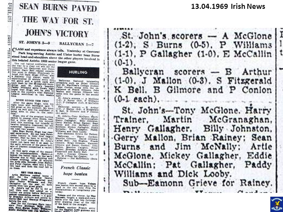 Senior Football Championship 1969 First Round St Johns 3-11 Eire Og 1-3 27.04.1969 Irish News