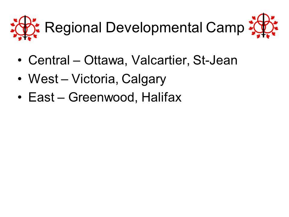 Regional Developmental Camp Central – Ottawa, Valcartier, St-Jean West – Victoria, Calgary East – Greenwood, Halifax