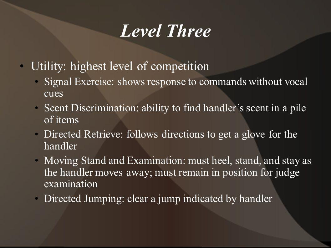 Level Three Utility: highest level of competition Signal Exercise: shows response to commands without vocal cues Scent Discrimination: ability to find handlers scent in a pile of items Directed Retrieve: follows directions to get a glove for the handler Moving Stand and Examination: must heel, stand, and stay as the handler moves away; must remain in position for judge examination Directed Jumping: clear a jump indicated by handler