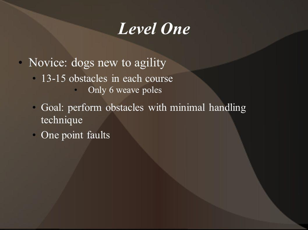 Level One Novice: dogs new to agility 13-15 obstacles in each course Only 6 weave poles Goal: perform obstacles with minimal handling technique One point faults