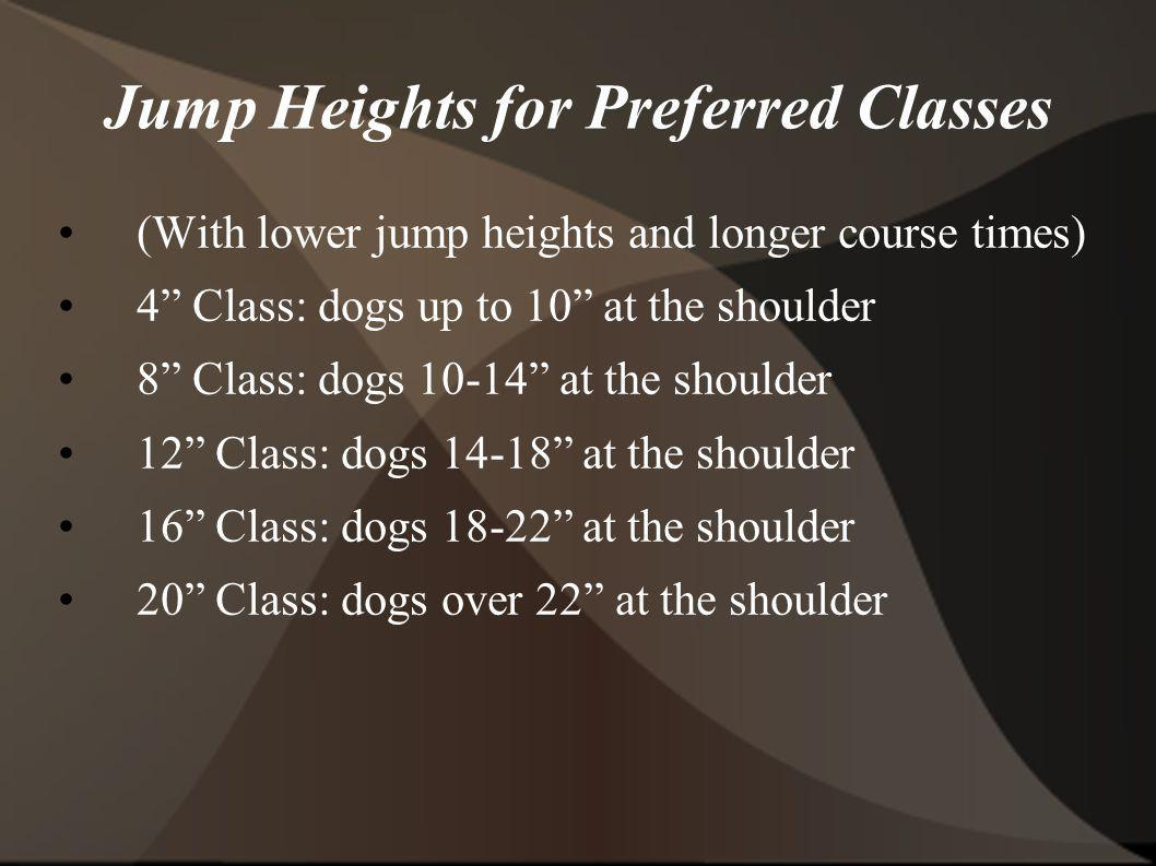 Jump Heights for Preferred Classes (With lower jump heights and longer course times) 4 Class: dogs up to 10 at the shoulder 8 Class: dogs 10-14 at the shoulder 12 Class: dogs 14-18 at the shoulder 16 Class: dogs 18-22 at the shoulder 20 Class: dogs over 22 at the shoulder