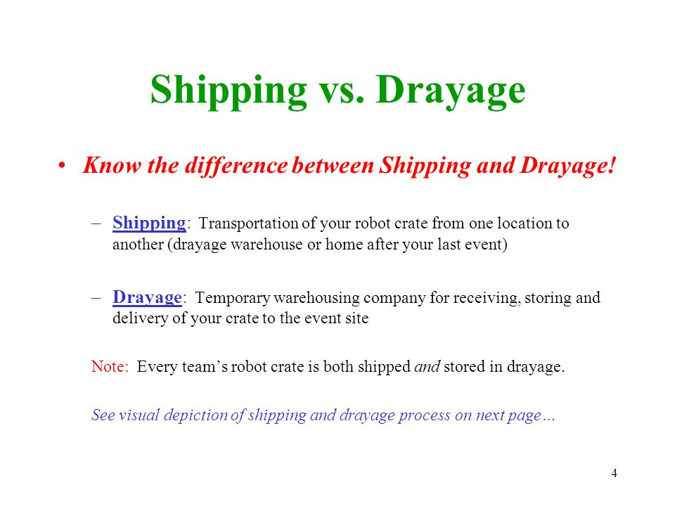 4 Shipping vs. Drayage Know the difference between Shipping and Drayage.