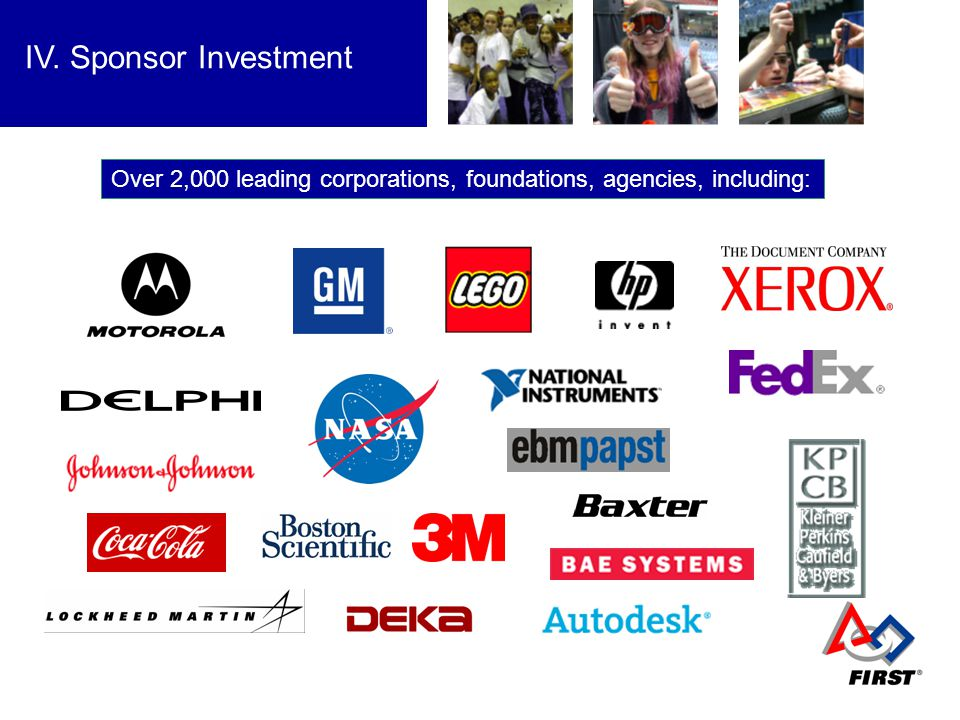 Growth IV. Sponsor Investment Over 2,000 leading corporations, foundations, agencies, including:
